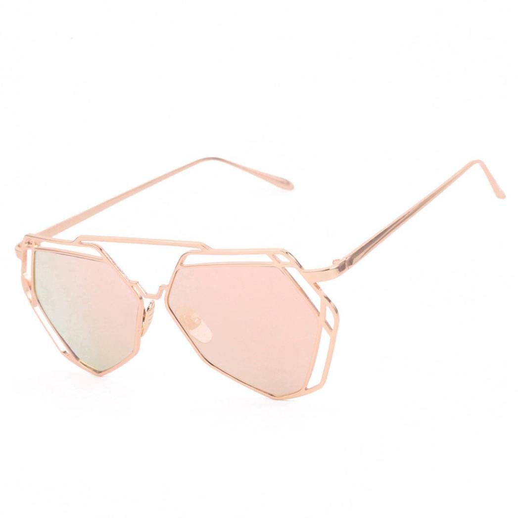 Transer Twin-Beams Geometry Design Women Metal Frame Mirror Sunglasses Cat Eye Glasses (Rose Gold)