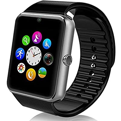 Motoraux Smart Watch Bluetooth Sweatproof Wrist Watch with Touch Screen for Notification Push /Handsfree Call for Andorid - black