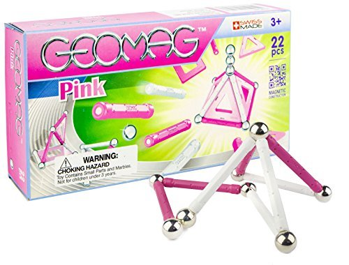 Geomag 22-Piece Construction Set with Assorted Pink Panels –...