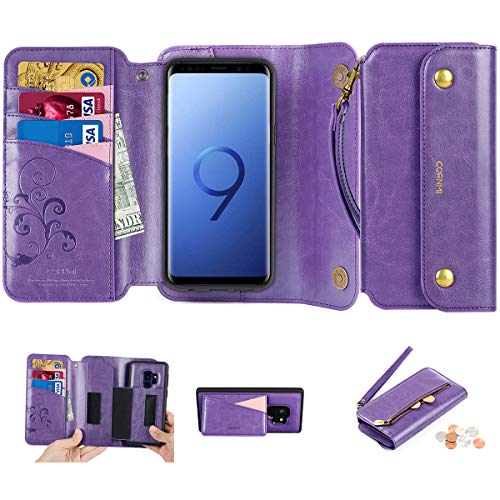 Galaxy S9 Wallet Case, CORNMI S9 Leather Wallet Case Detachable [3 in 1] Purse with Wrist Strap Zipper Pocket Kickstand Magnetic Closure 8-Credit Slots Compatible for Samsung Galaxy S9 5.8Inch Purple