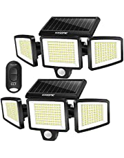 Solar Lights Outdoor, 2 Pack Kasonic 264 LED 2500LM Wireless Waterproof LED Solar Motion Sensor Light, 3 Adjustable Colors 3000K/4500K/6500K, Wide Angle, Security LED Flood Light with Remote Control