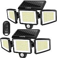 Solar Lights Outdoor, 2 Pack Kasonic 264 LED 2500LM Wireless Waterproof LED Solar Motion Sensor Light, 3 Adjus