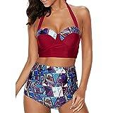 Software : ❀Women High Waist Swimwear❀,Todaies Women Push-Up Swimsuit Floral Bowknot Bikini Plus Size Swimwear Bandage Beachwear Bathing Suit 2018 (M, Red)