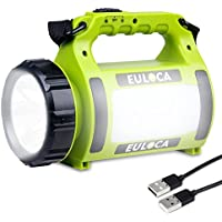 EULOCA Rechargeable CREE LED Spotlight, 2600 mAh Power Bank Multi Function Camping Lantern Big Flashlight, Waterproof Searchlight for Hurricane Emergency,Storm,Outage,More, USB Cable(2600mAh)
