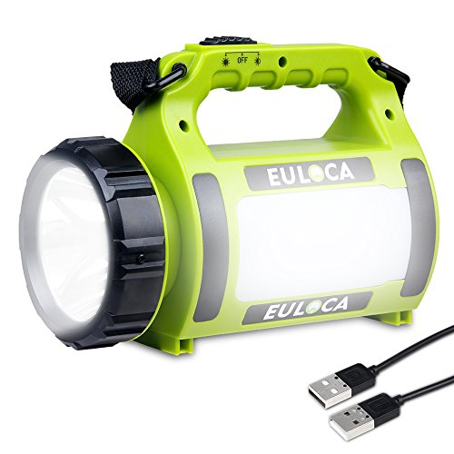 EULOCA Rechargeable CREE LED Spotlight, 2600 mAh Power Bank Multi Function Camping Lantern Big Flashlight, Waterproof Searchlight for Hurricane Emergency,Storm,Outage,More, USB Cable(2600mAh) by EULOCA