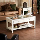 Glass Top Coffee Table with Drawers White Cocktail Display Table