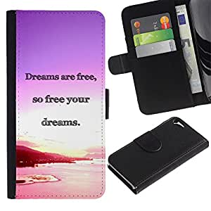 Planetar® Modelo colorido cuero carpeta tirón caso cubierta piel Holster Funda protección Para Apple iPhone 5 / iPhone 5S ( Los sueños del océano Purple Sunset Pink )