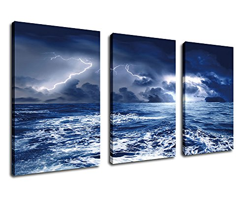 Yearainn Wall Art Canvas Sea Wave- Dark Blue Seascape Canvas Art -