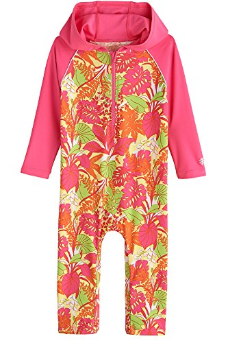 Coolibar UPF 50+ Baby Hooded One-Piece Swimsuit - Sun Protective (6-12 Months- Pink Tropical Floral)