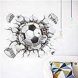 Toonol 1PCS Creative 3D Football Soccer Broken Playground Sticker For Wall Hole Window Home Decals Kids Room Wall Sticker Art,50 x 40 cm