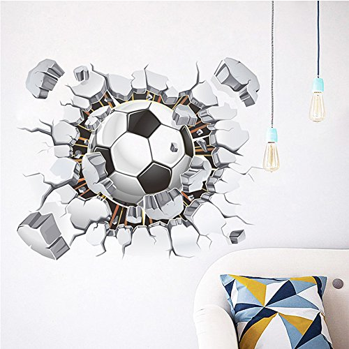 Toonol 1PCS Creative 3D Football Soccer Broken Playground Sticker For Wall Hole Window Home Decals Kids Room Wall Sticker Art,50 x 40 (Soccer Window)