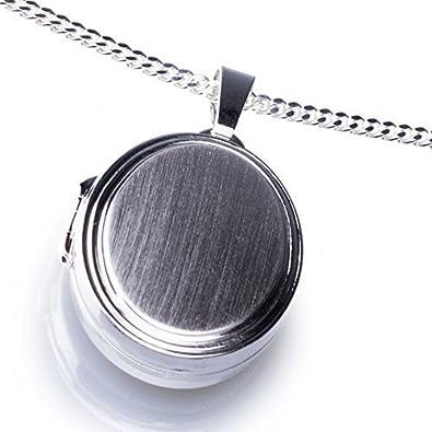 Anhänger Medaillon oval zum öffnen 925/- Sterling Silber 17 x 24 mm, Panzerkette inkl. Gravur 45 Zentimeter) Schmuck-Klein