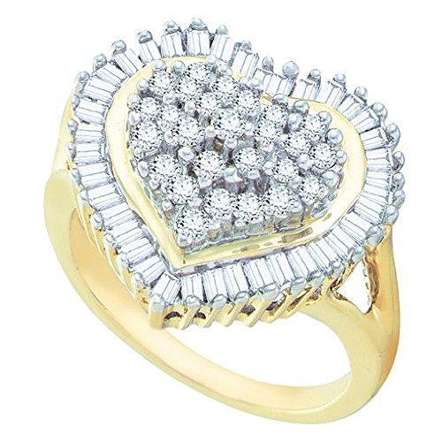 Heart Baguette Ring (1.00 Carat (ctw) 10k Yellow Gold Round & Baguette Cut White Diamond Ladies Heart Engagement Ring 1 CT)