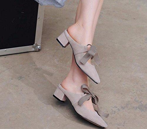 gray mezzo farfalla dolce KPHY Thirty nine nodo trentaquattro moda la estate donna delle tacco derma creativa scarpe OUnxRn