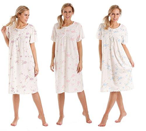 Traje de neopreno para mujer Diseño de flores de manga corta para interior de algodón Jersey camisón Night-camiseta de manga corta de camisón sábana bajera con volante - Disponible en las tallas 10-36 morado