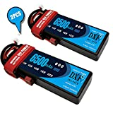 DXF 2PCS 7.4V 6500mAh 100C 2S Grade A Li-Poly Lipo Battery Hard Case with Deans Plug for RC Model Car Boat Truck Buggy