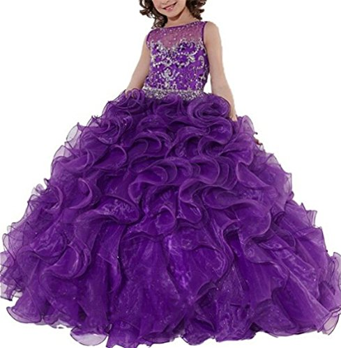 Beauty Pageants Dresses (SweetFaterk Big Girls' Kids Crystal Ball Gowns Floor Length Pageant Dresses 16 US Purple)