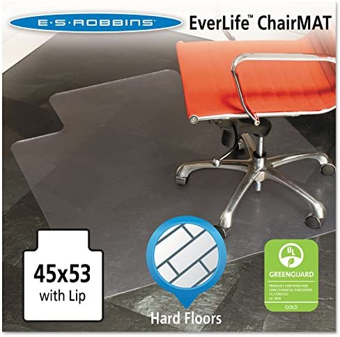ES Robbins – Chair Mat for Hard Floors, Lip, 45w x 53l, Clear