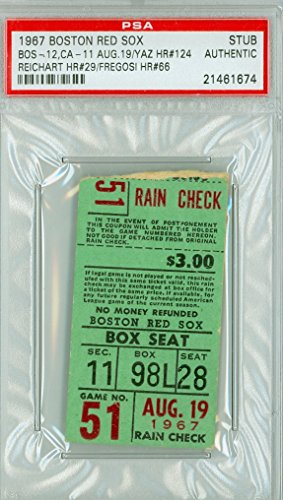 1967 Boston Red Sox Impossible Dream AL Champs Ticket Stub vs California Angels Carl Yastrzemski HR #124 August 19, 1967 [Grades Very Good, lt crease; rough tear line] by Mickeys Cards