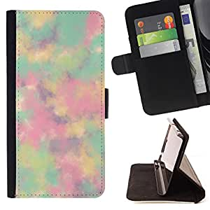 King Air - Premium PU Leather Wallet Case with Card Slots, Cash Compartment and Detachable Wrist Strap FOR Apple iPhone 4 4S 4G- Colorfull space