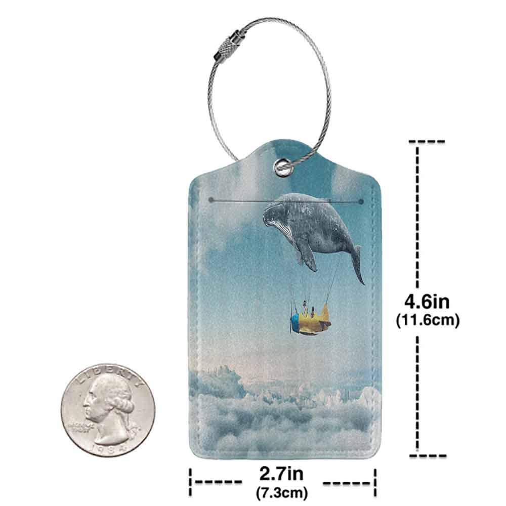 Multicolor luggage tag Up in the Air Decor Dreamy View of Whale and Aeroplane Childrens Dream Design Hanging on the suitcase Blue White Yellow W2.7 x L4.6
