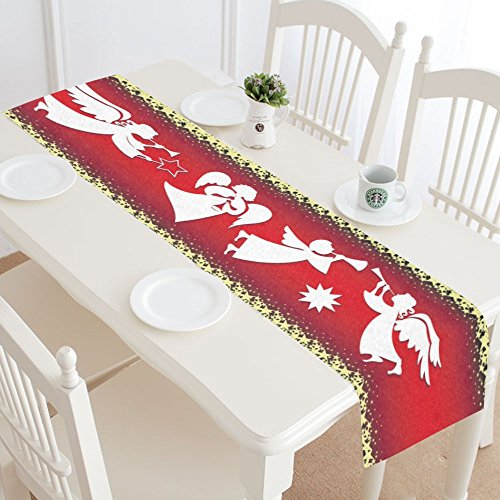 InterestPrint Christmas Angel Singing Polyester Table Runner