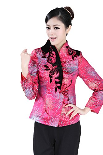 JTC Femme Veste des Tang Style Chinois Rose Elgante Belle-Rose