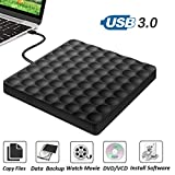External CD/DVD Drive for Laptop USB 3.0 Portable High Speed Data Transfer DVD Drive +/-RW Optical CD Drive Burner Writer for Laptop Desktop PC Windows Linux OS Apple Mac
