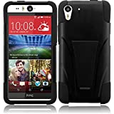 MEGATRONIC Black Soft T-Stand [Kickstand] Gel Dual Layer Cover Case Skin for HTC Desire Eye 5.2 5.2