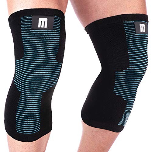Mava Sports Knee Support Sleeves (Pair) for Joint Pain & Arthritis Relief, Improved Circulation Compression - Effective Support for Running, Jogging,Workout, Walking & Recovery (Black&Blue, Large)