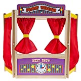 Hey!Play! Wooden Tabletop Puppet Theater with Curtains, Blackboard, and Clock- Inspires Imagination and Creativity for Kids, Boys and Girls