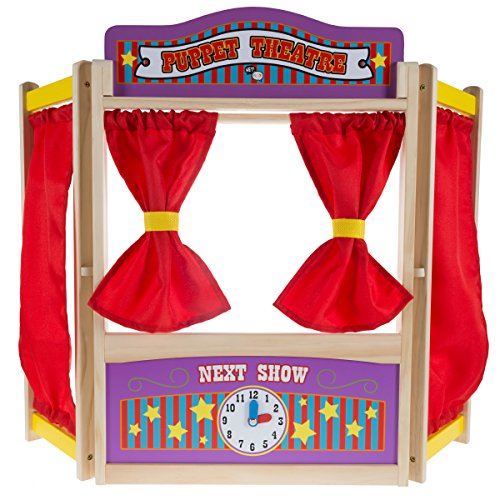 (Hey! Play! Wooden Tabletop Puppet Theater with Curtains, Blackboard, and Clock- Inspires Imagination and Creativity for Kids, Boys and Girls)