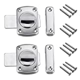 Sumnacon Safety Door Latches, 2 Pcs Solid Rotate Bolt Latch Gate Latches/Lock For Pet Gate,Cabinet Furniture, Window, Bathroom, Brushed Finish