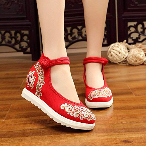 Moda Scarpe Fuxitoggo A Rosso Ricamate Tendine Lino Forti 38 colore Più Casual Stile Femminili Dimensione Suola Comodo Etnico Pwq4dpw