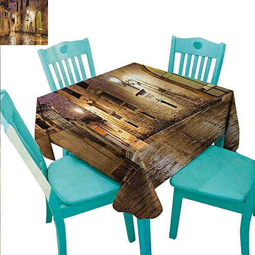 - WilliamsDecor Gothic Fabric Dust-Proof Table Cover Gothic Ancient Stone Quarter of Barcelona Spain Renaissance Heritage Night Street Photo for Kitchen Dinning Tabletop Decoration 50