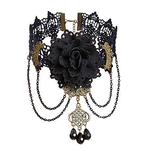 Tebapi Womens Lace Necklace Gothic Flower Jewelry Vintage Lace Pendant Women Accessories Choker Necklace Black False Collar Statement Necklaces GN-112