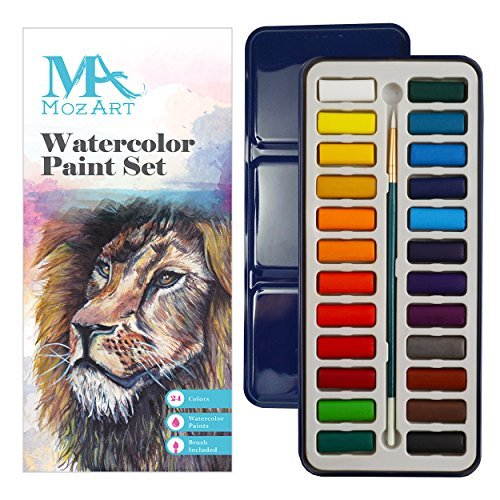 (MozArt Supplies Watercolor Paint Essential Set - 24 Vibrant Colors - Lightweight and Portable - Perfect for Budding hobbyists and Professional Artists - Paintbrush)