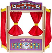 Hey! Play! Wooden Tabletop Puppet Theater with Curtains, Blackboard, and Clock- Inspires Imagination and Creat