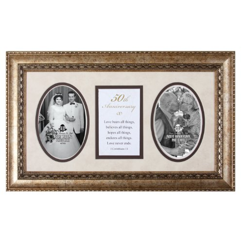 50th Anniversary Love Hearts Forever 18x11 Wood Wall Art Frame - Holds Two 4x6 Photos