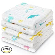 "Baby Washcloths, Ricdecor Soft Bath Towels Cotton Cloth Muslin Reusable Wipes Dye Free Perfect for Baby Bath 10""×10"" (Pattern 5Pack)"