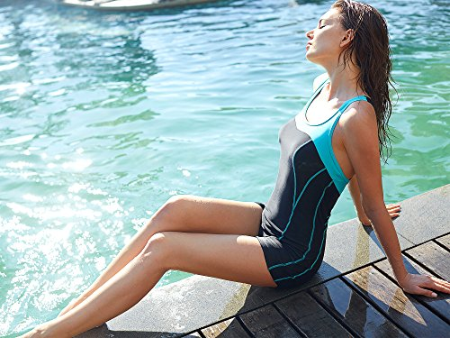 CharmLeaks Damen Einteiler Sport Badeanzug - Trainingsanzug - Figuroptimizer Essence Sportbadeanzug Mit Bein Türkis Schwarz EK8EhB6Dj