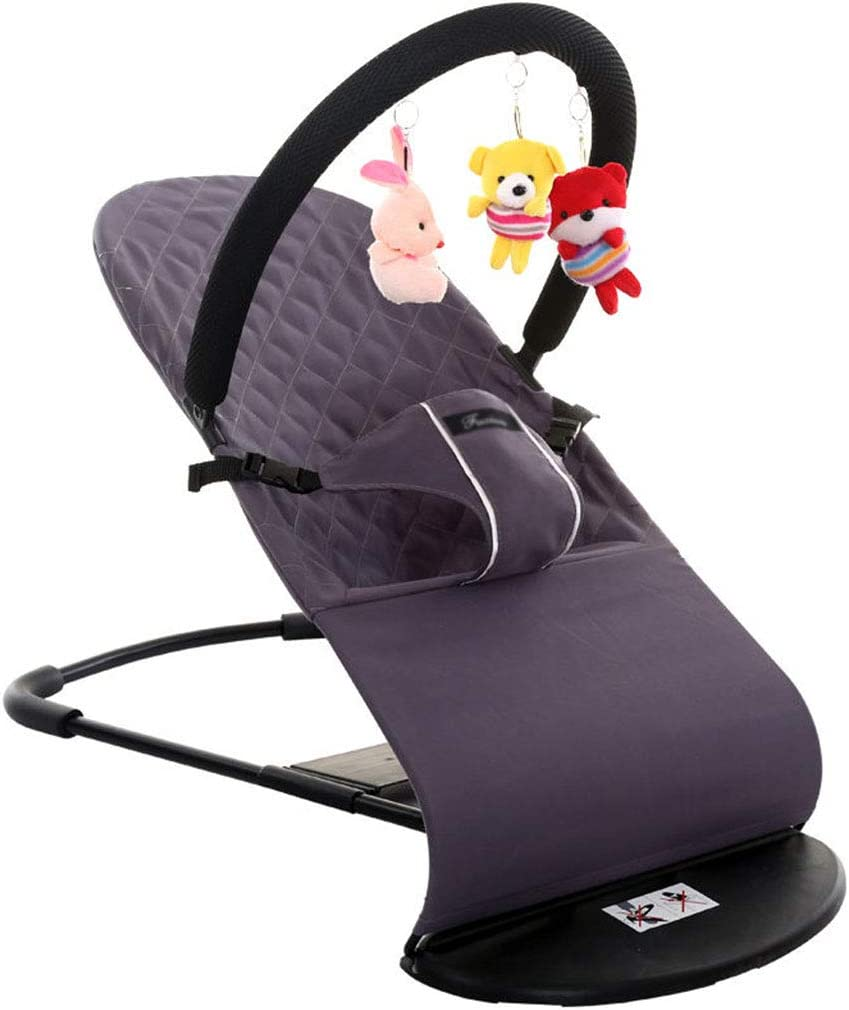 Sloping Chair Flat Folding Bouncer Balance Soft and Bliss,Gray Baby Bouncer 4 Position Recline 3 Point Harness Easy to Clean Removable Toy Bar
