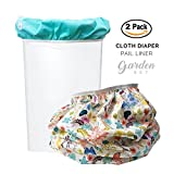 Baby Tooshy Diaper Pail Liner Set (2) - Large Capacity Wet Bag for Cloth & Disposable Diapers. Effectively Contains Stinky Diapers. Heavy Duty PUL offers Superior Leak Free Protection. Garden
