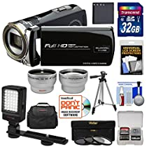 Bell & Howell DV12HDZ 1080p HD Video Camera Camcorder (Black) with 32GB Card + Battery + Case + Tripod + Filters + Video Light + Tele/Wide Lens Kit