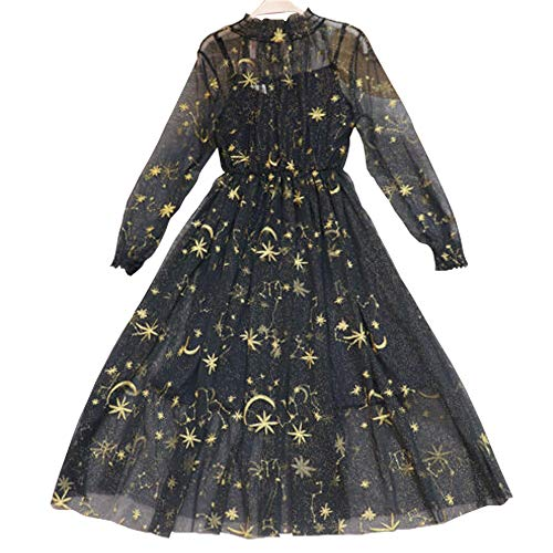 Women Lolita Ruffled Dress Princess Puff Sleeve Dolly Tulle Skirts Embroidered