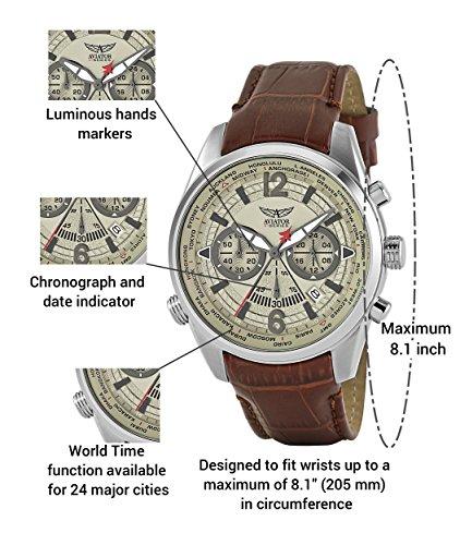 fa7888865 Aviators Watch by Aviator F-Series - Aviators Brown Strap Beige Dial and Luminous  Indices - Pilot Quartz Chronograph AVW2120G318: Aviator F-Series: ...