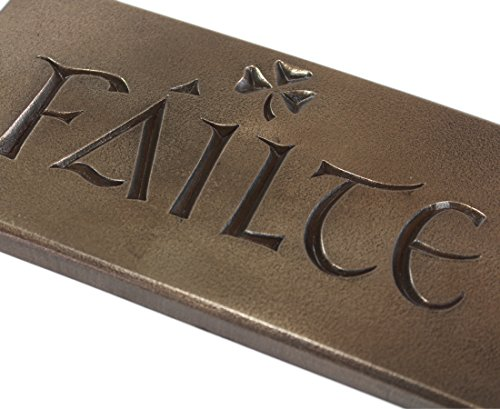 Wild Goose Failte Sign Irish Welcome and Shamrock Resin Cast Coated In Bronze 8 Inches Long by 4 Inches Tall Made in Ireland