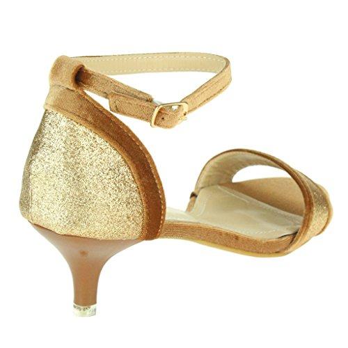 Mujer Señoras Sparkly Corte de terciopelo Punta abierta Correa de tobillo Tacón de gatito Noche Boda Fiesta Nupcial Sandalias Zapatos Talla Marrón