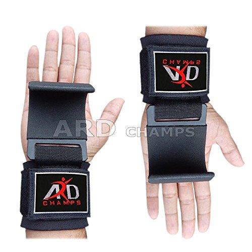 ARD CHAMPS Heavy Duty Weight Lifting Training Gym Straps Hook Bar Wrist Brace (Black)