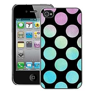 A-type Arte & diseño plástico duro Fundas Cover Cubre Hard Case Cover para iPhone 4 / 4S (Dot Teal Purple Black Blue)